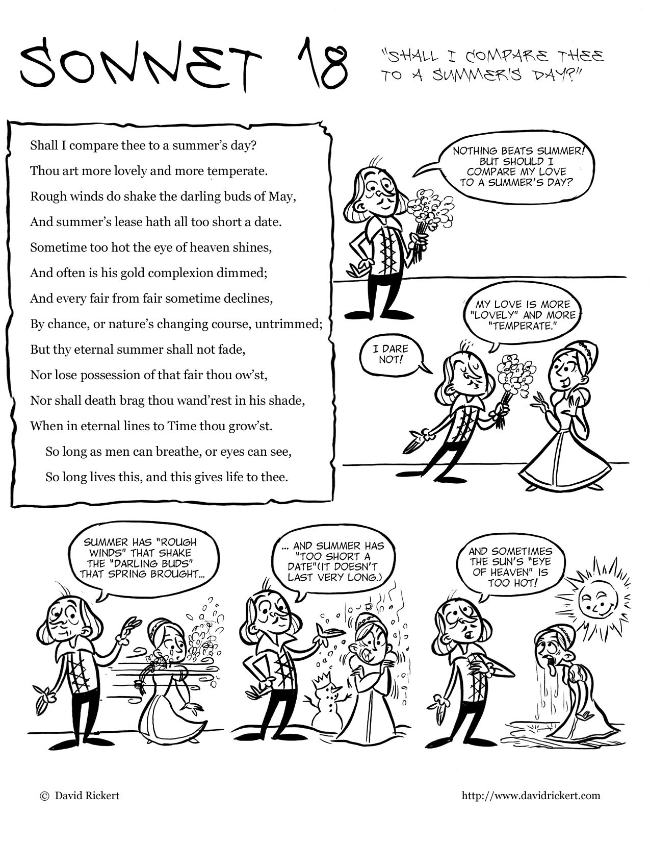 shakespeare comics sonnet 18 david rickert the packet contains a cartoon that explains the poem as well as comprehension activities and lessons on the sonnet form check it out at my store